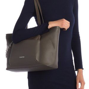 Calvin Klein Beverly Pebble Chainlink Tote…